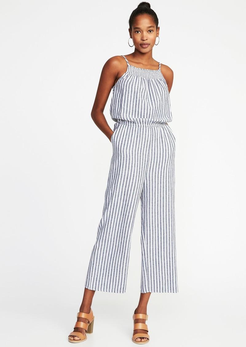 Old Navy Sleeveless Smocked Neck Striped Jumpsuit For Women Dresses