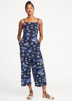 Sleeveless Square-Neck Linen-Blend Jumpsuit for Women