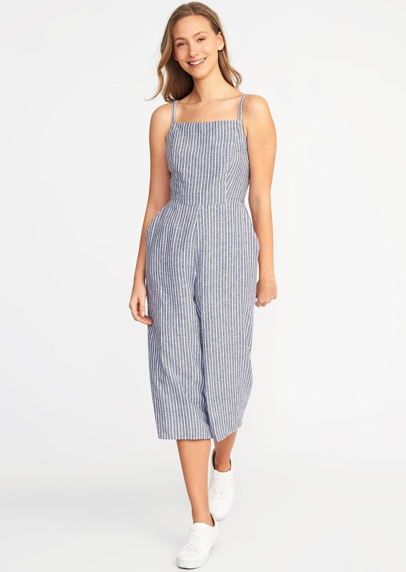 2b9e9c9fe8a Old Navy Sleeveless Striped Linen-Blend Jumpsuit for Women