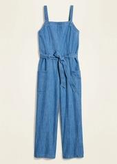 Old Navy Sleeveless Tie-Belt Utility Jean Jumpsuit for Women