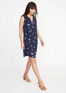 Sleeveless Tie-Neck Shift Dress for Women