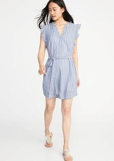Sleeveless Tie-Waist Shirt Dress for Women