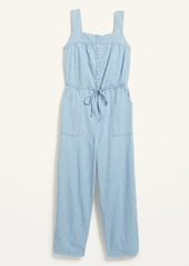 Old Navy Sleeveless Tie-Waist Utility Jean Jumpsuit for Women