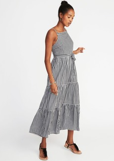 Sleeveless Tiered Gingham Maxi Dress for Women