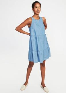 Sleeveless Tiered Trapeze Dress for Women