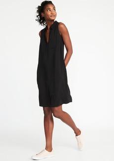 Sleeveless Twill Shirt Dress for Women