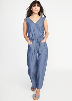 Sleeveless Utility Twill Jumpsuit for Women