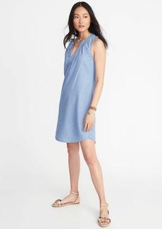 Sleeveless V-Neck Shift Dress for Women