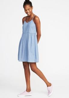 Sleeveless V-Neck Swing Dress for Women