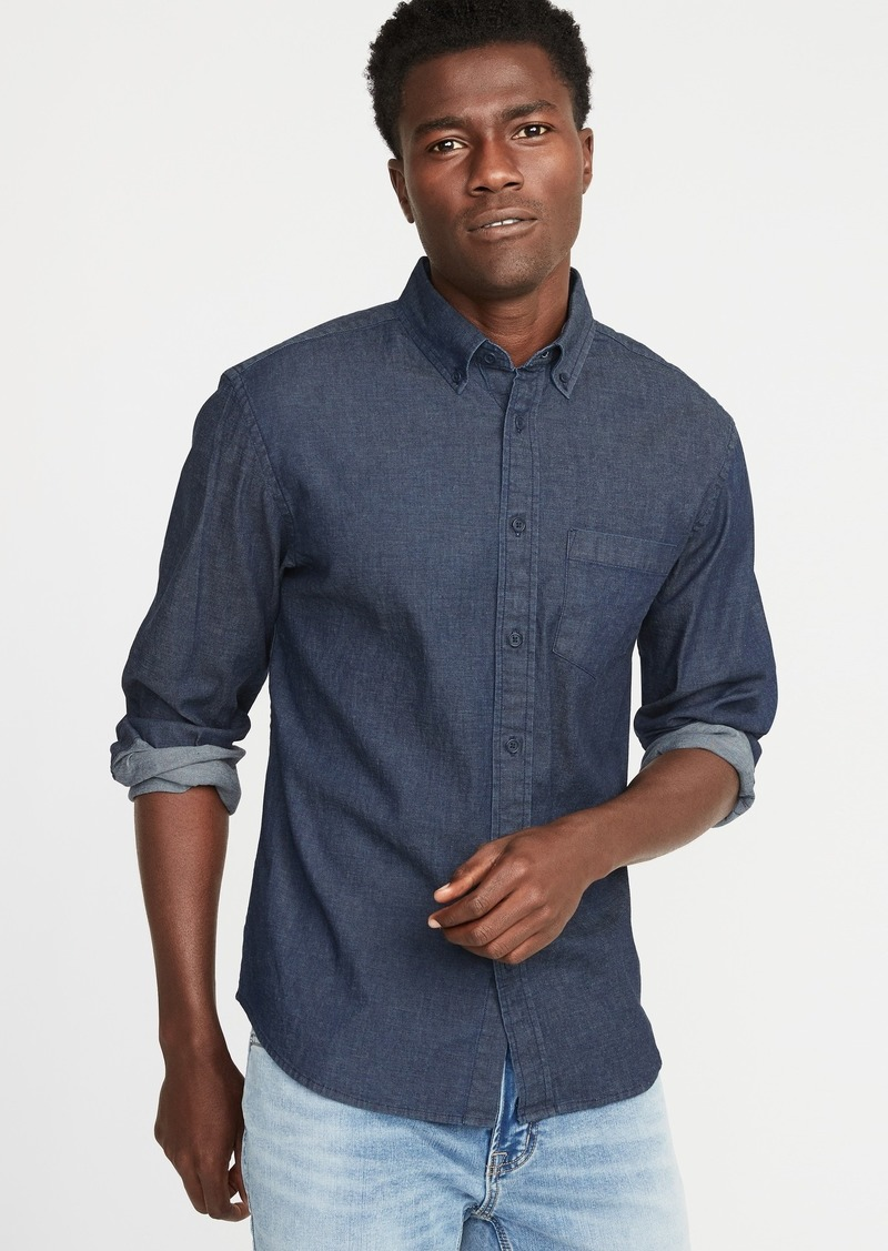 Old Navy Slim-Fit Built-In Flex Chambray Everyday Shirt for Men