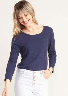Old Navy Slub-Knit 3/4-Sleeve Twist-Back Top for Women