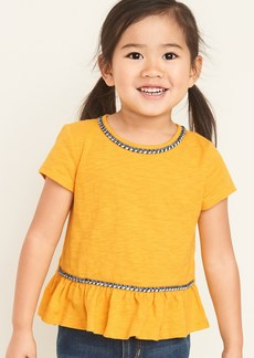 Old Navy Slub-Knit Braided-Trim Peplum-Hem Top for Toddler Girls
