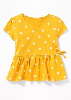 Old Navy Slub-Knit Faux-Wrap Peplum-Hem Top for Toddler Girls