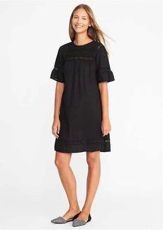 Slub-Weave Lace-Trim Shift Dress for Women