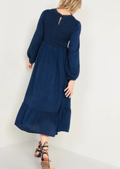 Old Navy Smocked Chambray Fit & Flare Midi Dress for Women