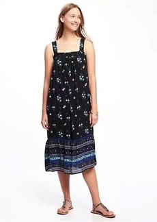 Smocked Crinkle-Gauze Swing Dress for Women
