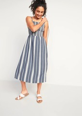 Old Navy Smocked Fit & Flare Striped Cami Midi Dress for Women
