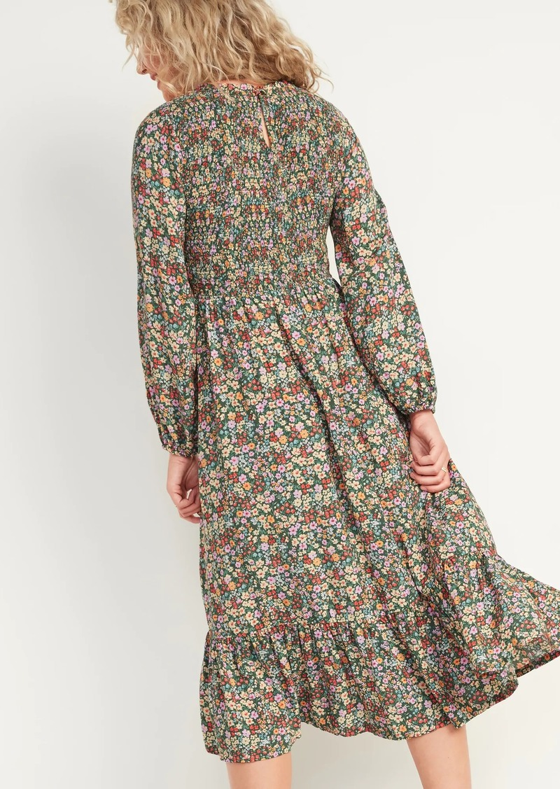 Old Navy Smocked Floral-Print Fit & Flare Midi Dress for Women