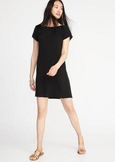 Smocked-Neck Shift Dress for Women