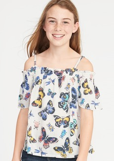 Old Navy Smocked Off-the-Shoulder Butterfly-Print Swing Top for Girls