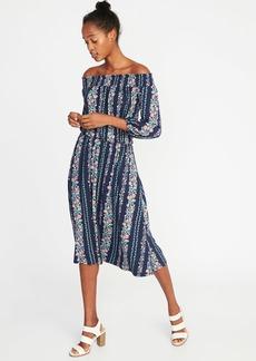 Smocked Off-the-Shoulder Cinched-Waist Dress for Women