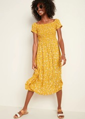 Old Navy Smocked Off-the-Shoulder Fit & Flare Midi Dress for Women
