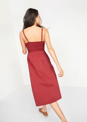 Old Navy Smocked Textured Clip-Dot Fit & Flare Cami Midi Dress for Women