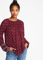 Old Navy Smocked-Yoke Printed Swing Blouse for Women
