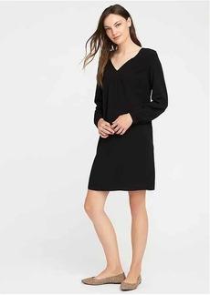 Smocked-Yoke V-Neck Shift Dress for Women