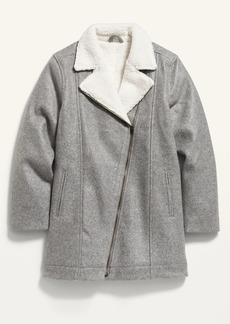 Old Navy Soft-Brushed Sherpa-Lined Long Moto Jacket for Girls