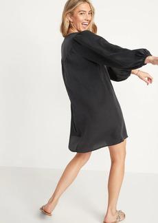 Old Navy Split-Neck Black Chambray Swing Dress for Women