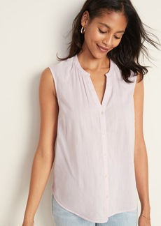 Old Navy Split-Neck Button-Front Sleeveless Top for Women