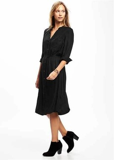 Split-Neck Crepe Shirt Dress for Women