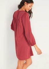 Old Navy Split-Neck Textured Clip-Dot Midi Swing Dress for Women