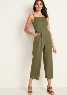 Old Navy Square-Neck Linen-Blend Cami Jumpsuit for Women