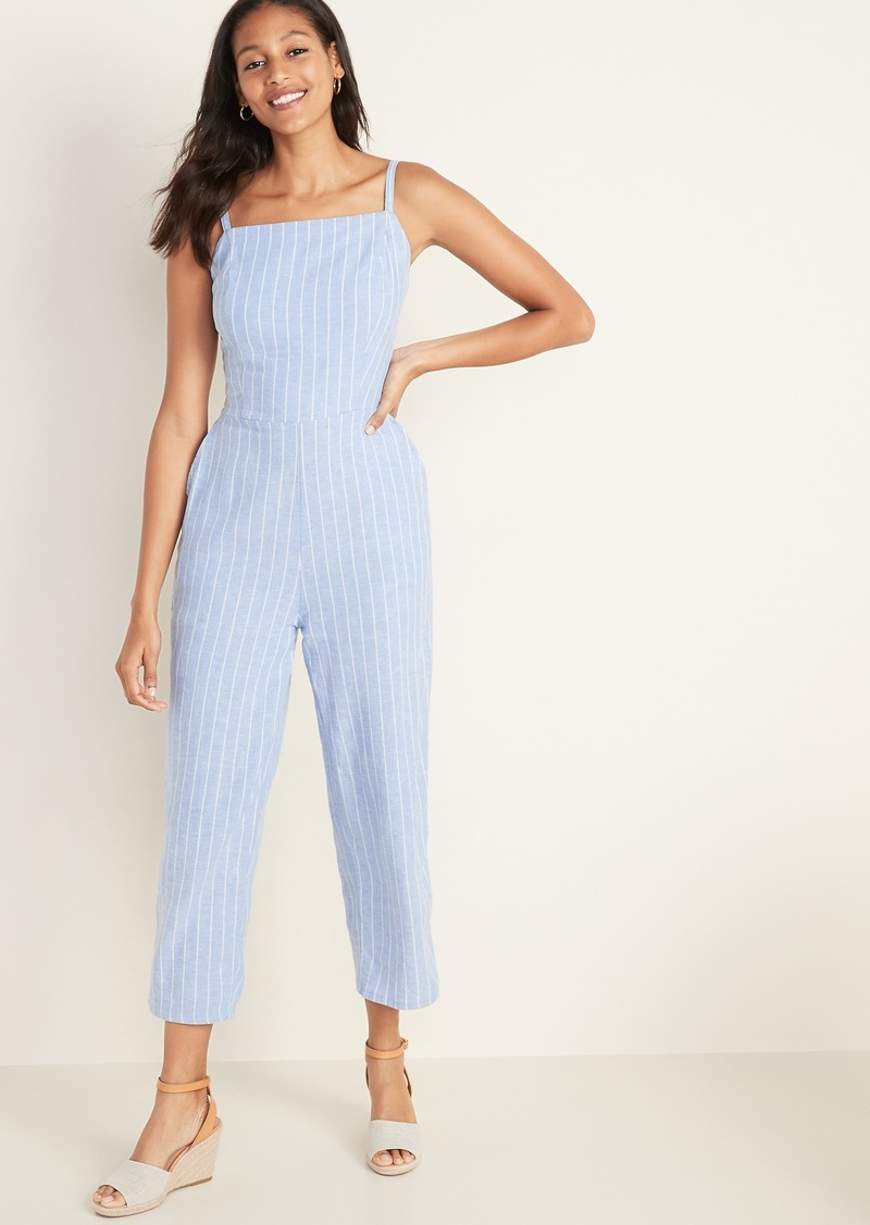 Old Navy Square-Neck Linen-Blend Striped Cami Jumpsuit for Women