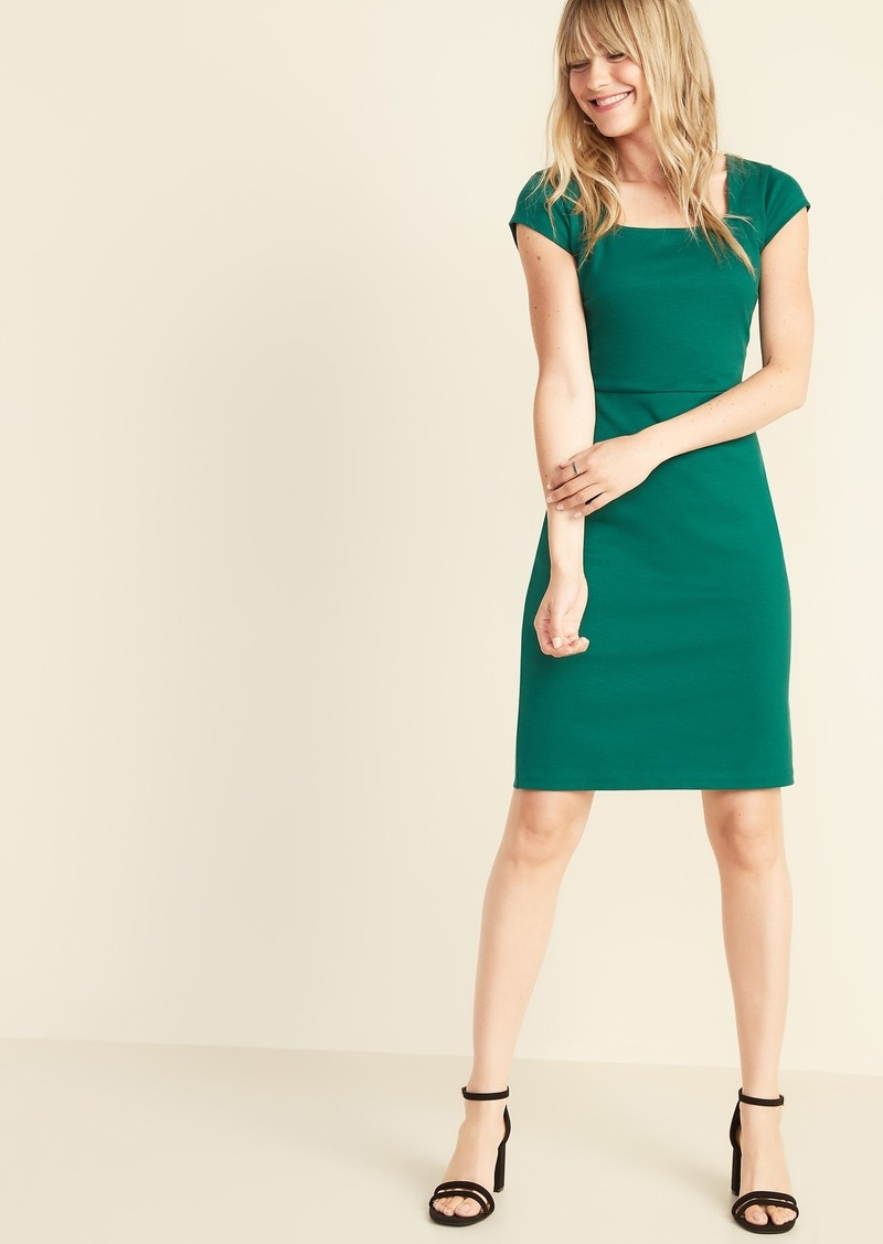 Old Navy Square-Neck Ponte-Knit Sheath Dress for Women