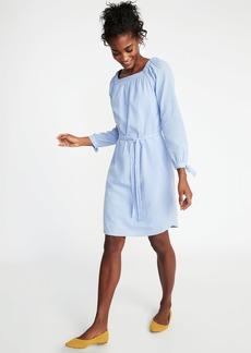 Square-Neck Tie-Belt Shift Dress for Women