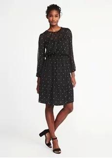 Star-Print Chiffon Dress for Women