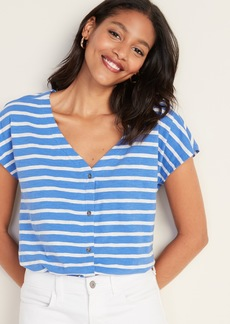 Old Navy Striped Button-Front V-Neck Henley for Women