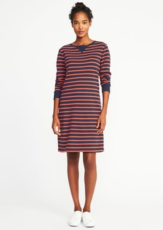 Striped Fleece Shift Dress for Women