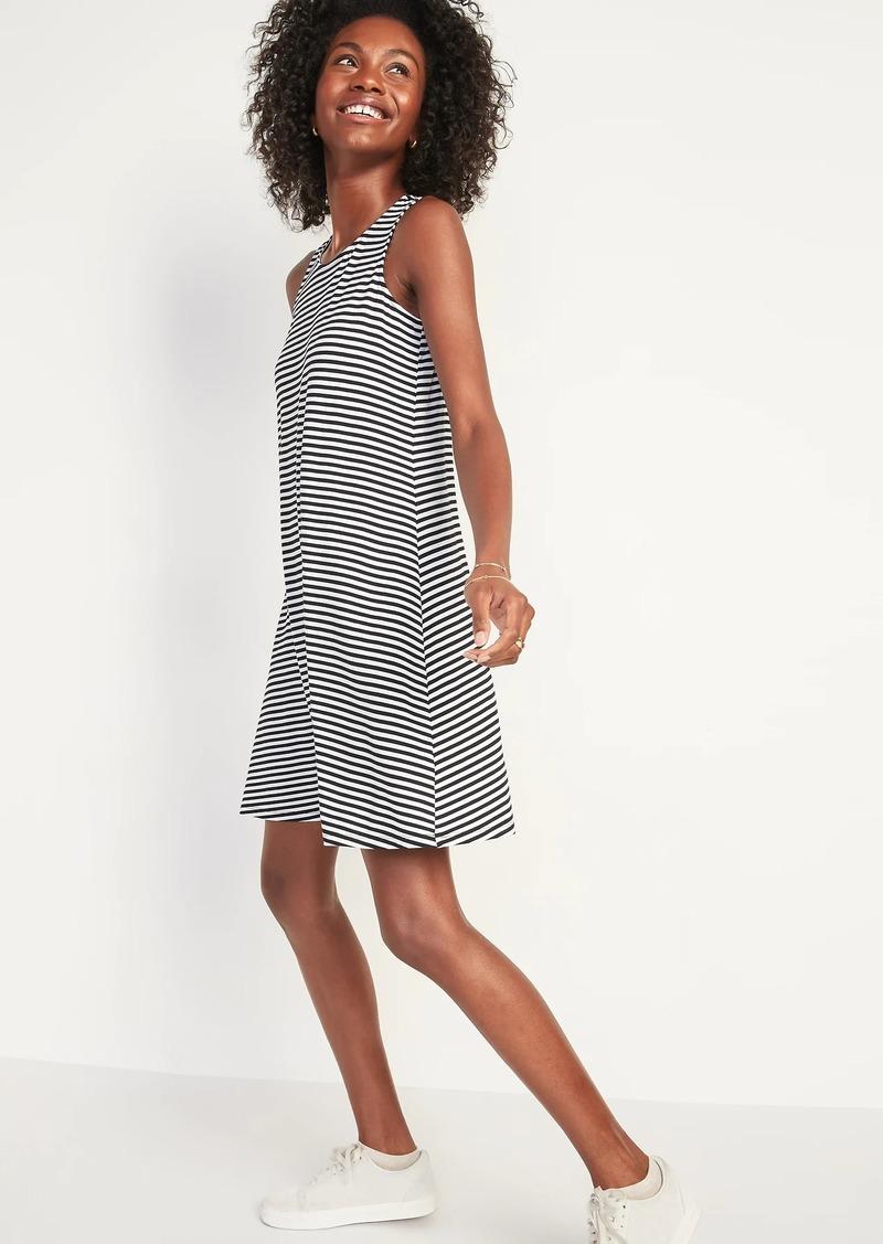 Old Navy Striped Jersey-Knit Sleeveless Swing Dress for Women