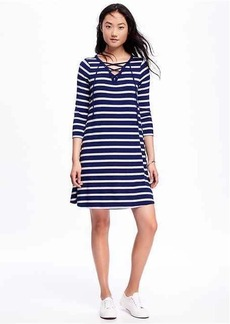 Striped Lace-Front Swing Dress for Women