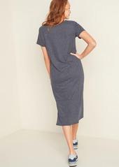 Old Navy Striped Linen-Blend Jersey Midi T-Shirt Shift Dress for Women