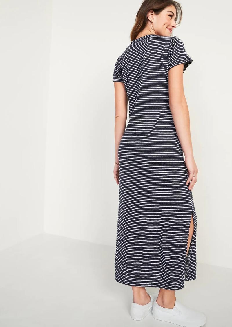Old Navy Striped Linen-Blend Maxi T-Shirt Shift Dress for Women