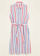 Old Navy Striped Linen-Blend Tie-Belt Shirt Dress for Women