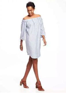 Striped Off-the-Shoulder Shift Dress for Women