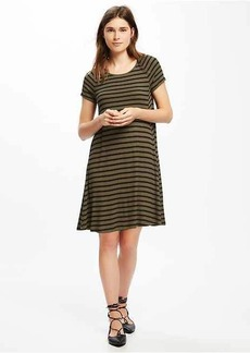 Striped Rib-Knit Swing Dress for Women