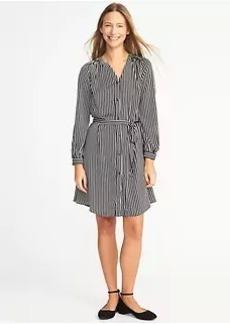 Striped Sateen Tie-Waist Shirt Dress for Women