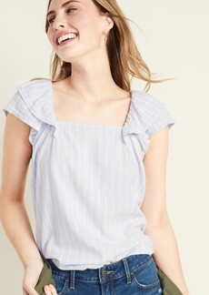 Old Navy Striped Square-Neck Flutter-Sleeve Top for Women
